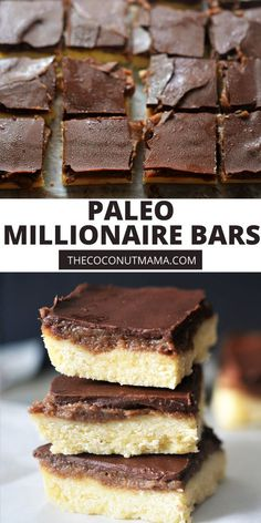 These Paleo Millionaire Bars are filled with a delicious Medjool date caramel sauce over a tender coconut flour shortbread crust with a chocolate layer. Recipe Using Coconut Oil, Coconut Recipes, My Recipes, Real Food Recipes, Yummy Food, Favorite Recipes, Free Recipes, Is Coconut A Nut, Coconut Flour