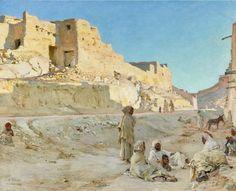 Algérie - Peintre Français, Alphonse Étienne Dinet (1861-1929), huile sur toile ,Intitulée: Repos à Bou - Saada