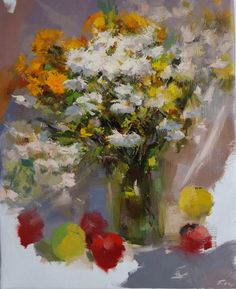 Flower painting bouquet of daisies, Original still life painting with apples, floral oil painting, autumn flowers on canvas