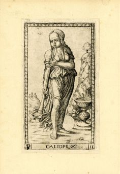 WL female figure, standing in a landscape, her head slightly turned to l; playing a long horn; after the so-called Tarocchi Cards of Mantegna. Engraving