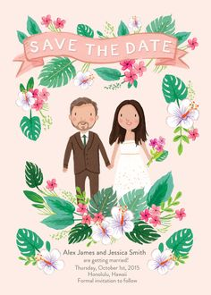 Sweet tropical destination wedding custom illustrated save the date card
