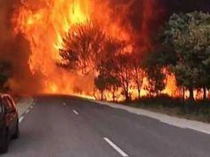 Combate a incêndio na vila medieval de Castelnou  - YouTube