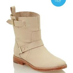 NEW JOIE flat Moto boots in buff! Blogger fav! Gorgeousness! Flat pull up boots with gold detail. Leather is very soft! Looks so cute with dresses and jeans! Joie Shoes Combat & Moto Boots