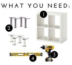 Supplies for Adding Feet to an IKEA Kallax