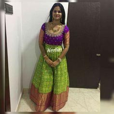 Half Saree Lehenga, Anarkali Dress, Sarees, Long Gown Dress, Long Frock, Long Dress Design, Frocks And Gowns, Ikkat Dresses, Crop Top Dress
