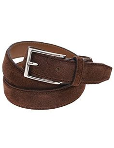 FLATSEVEN Mens Casual Solid Color Suede Belt with Single Prong Metal Buckle (Y404), DarkBrown #FLATSEVEN #Men #clothing #fashion #outfits #belts #accessories