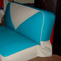 They just finished our seat covers for our 1959 Vintage Trailer! Yay!