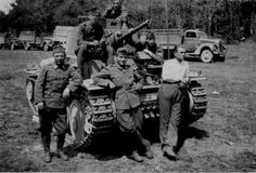 Members of the Hungarian First Armored Division pose by a Panzer on their way to the East in Defence Force, Panzer, Luftwaffe, Military Vehicles, Ww2, Monster Trucks, Germany, Army, Poses