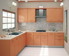 L Shaped Kitchen Cabinets, Simple Kitchen Cabinets, Simple Kitchen Design, Kitchen Cupboard Designs, Kitchen Cabinet Layout, Kitchen Room Design, Contemporary Kitchen Design, Interior Design Kitchen, Cabinet Island
