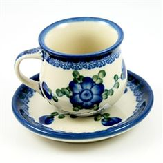 Polish Pottery Stoneware Espresso Cup And Saucer Set