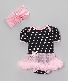Look at this Pink & Black Polka Dot Skirted Bodysuit & Headband - Infant on #zulily today!