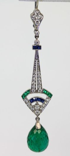 ART DECO EMERALD SAPPHIRE DIAMOND 18K DROP EARRINGS over 5 CARATS WHITE GOLD