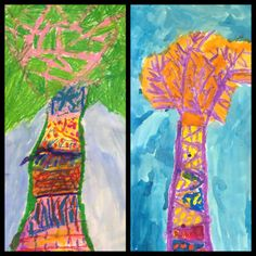 """1st- trees from inspired by illustrations from children books like """"Why Mosquitoes Buzz in Peoples Ears"""" Oil Pastel and watercolor"""