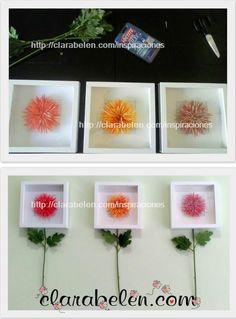 Originales marcos para decoración: flores enmarcadas con tallos - Inspiraciones: manualidades y reciclaje