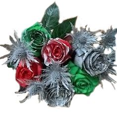 Silver Flowers | Buy Silver Flowers Online | Silver Rose | Silver Thistle Gerbera Daisy Centerpiece, Rose Flower Arrangements, Rose Centerpieces, White Rose Flower, Red And White Roses, Dye Flowers, Blue Succulents, Rainbow Roses, Christmas Flowers