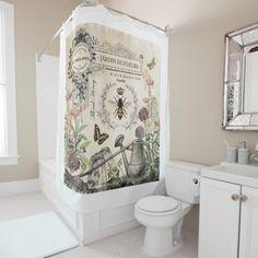 Modern French Garden Shower curtain. Elegant Shower Curtains, Flower Shower Curtain, Custom Shower Curtains, Fabric Shower Curtains, Bathroom Shower Curtains, Vintage Shower Curtains, French Bathroom Decor, Bathroom Styling, Bathroom Ideas