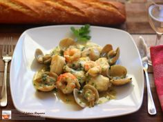 Lazy Blog: Rape in green sauce with clams and prawns.