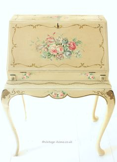 Vintage Home Shop - Stunning 1940s Hand Painted Florals adorn the Blonde Coloured Background of this Ladies Writing Bureau: www.vintage-home.co.uk