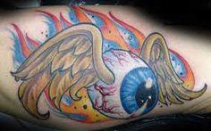 flying eyeball von dutch - Google Search Car Tattoos, Biker Tattoos, Body Art Tattoos, Sleeve Tattoos, Tattoo Art, Tatoos, Weed Tattoo, Flame Tattoos, Retro Tattoos