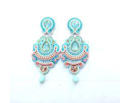 Soutache Earrings - Long Clip On Earrings , Unique Bridal Earrings , Handmade Jewelry , Handmade Ear Funky Earrings, Clip On Earrings, Earrings Handmade, Handmade Jewelry, Unique Jewelry, Pageant Earrings, Bridal Earrings, Soutache Jewelry, Bracelets