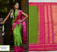 Kanjeevaram pure silk saree in green with pink pallu and temple borders. Code: VS4005 Write to vrndacollections@gmail.com contact / whatsapp +91 8861255270