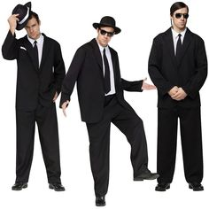 set of threeBlack Suit Costume Adult Funny Blues Brothers Men In Black Frank Sinatra Outfit #FunWorld