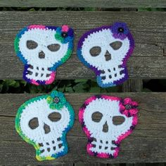 Sugar Skull Coasters Crocheted Skull by KarensCrochetCottage
