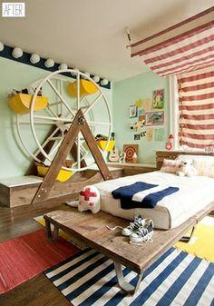 children's carnival bedroom room, red navy seafoam