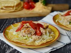 A pork roast slow cooked in citrus and spice is the star of these succulent Shredded Pork Tostadas. Slow Cooker Pork, Slow Cooker Recipes, Crockpot Recipes, Freezer Recipes, Pork Recipes, Mexican Food Recipes, Whole Food Recipes, Freezer Cooking, Crock Pot Cooking
