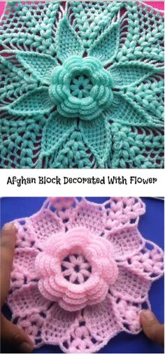 Afghan Block With Flower