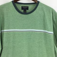 American Eagle Outfitters XL Men's T-Shirt Green with Blue Stripe 100% Cotton  #AmericanEagleOutfitters #BasicTee