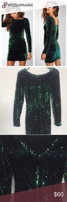 Motel Rocks sequin gabby dress Size xs can fit a 0-3. Worn once. Great condition. THE ultimate party dress! In an exclusive dazzling iridescent green/blue shift sequin on a luxe velvet, ultra flattering bodycon fit, long sleeves and sultry V back you'll sure be the star of the show!                         •no trades or holds✖️ •same/next day shipping📬 •use offer button to negotiate price💙 ASOS Dresses