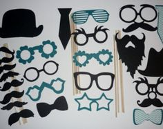 DIY Mustache Photo Booth Prop Set mustache lip hat by CraftyBooth