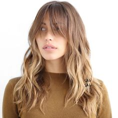 50 Cute and Effortless Long Layered Haircuts with Bangs Light Brown Layered Hairstyle With Bangs. This soft brown ombre boasts shaggy layers throughout and extra long light bangs that you may want to pin up or to the side when doing any sort of activity. Layered Haircuts With Bangs, Long Hair With Bangs, Haircuts For Long Hair, Short Hairstyles, Latest Hairstyles, Wedding Hairstyles, Office Hairstyles, Anime Hairstyles, Stylish Hairstyles