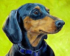 """Dachshund Dog Art Print, Black and Tan Doxie, Print of Original Dog Painting by Dottie Dracos,. Black-and-Tan Dachshund Portrait on Apple Green Background, DOG ART PRINT FROM ORIGINAL PAINTING BY DOTTIE DRACOS *********** MULTIPLE SIZES AVAILABLE (Shipping price same on ALL sizes) 1. 8x10"""" 2. 11x14"""" 3. 12x15"""" 4****** MULTIPLE SIZES AVAILABLE (Shipping price same on ALL sizes) 1. 8x10"""" 2. 11x14"""" 3. 12x15"""" 4. 13x16.25"""" *******************************************..."""