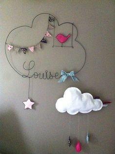 Réalisation d'un prénom en fil d'aluminium avec étoile, fanions, oiseau en tissu très originale pour décorer la chambre de votre enfant dimensions : largeur 41 X hauteur 46 - 107