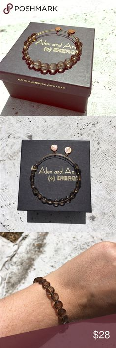 Alex and Ani Smoke Luxe Bead Discontinued staple bead from Alex and Ani! A smokey green/grey color that goes perfectly with almost everything! Gold wiring, lightly worn. Alex & Ani Jewelry Bracelets