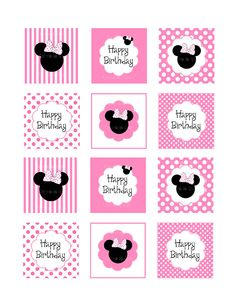 Minnie mouse cupcake toppers 2 inches by ceremoniaGlam on Etsy, $3.00