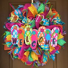 Welcome Flip Flop deco mesh Wreath by Virginia Quilling