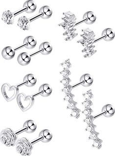 Blulu 6 Pairs Stainless Steel Tragus Cartilage Earrings Labret Studs Barbell Lip Nose Body Stud Piercing for Men Women Ornament Cartilage Earrings, Tragus, Nose Ring Stud, Labret Studs, Valentine Gifts, Amazing Women, Gifts For Women, Belly Button Rings, Piercing