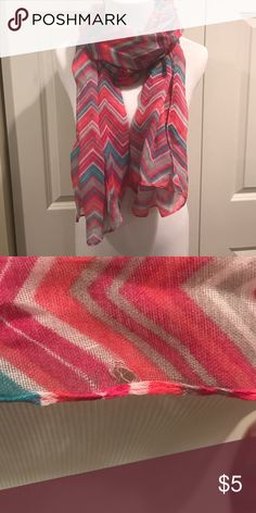 Chevron Scarf This scarf is new except for the small hole as seen in the picture. Lightweight gauzy fabric. All For Color Accessories Scarves & Wraps