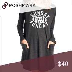 Pre-Order Sunday Funday Dress. Charcoal grey Sunday Funday Dress. Super cute and cozy and perfect for fall games and football Sundays. Comment size below and I can tag you when they are in so you can be the first to know. Zutter Dresses Midi