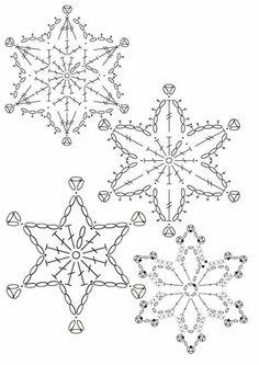 15 crochet snowflakes patterns- free patterns – Turcoaz cu Vanilie - Her Crochet Free Crochet Snowflake Patterns, Crochet Motif Patterns, Crochet Stars, Christmas Crochet Patterns, Holiday Crochet, Crochet Snowflakes, Christmas Snowflakes, Christmas Knitting, Thread Crochet