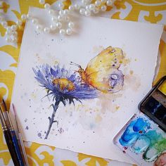 Butterfly and flower water colour art by Sillier Than Sally. www.sillierthansally.com Butterfly watercolor art