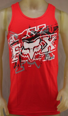 Fox Racing red tank top with black, white and gray logo
