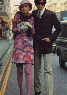 bright 1960s print and matching purple tights! minidress = win