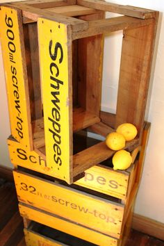 A Pair of Yellow Wooden #Schweppes Drink Boxes or by @LadyPenelopea, $45.00