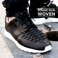 """#nike #rosherun #rosherunwoven #woven #blackleather #sneakerbaas #baasbovenbaas  Nike Roshe Run Woven """"Black Leather"""" - Now available online!  For more info about your order please send an e-mail to webshop #sneakerbaas.com!"""