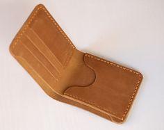 Handmade wallet Mens leather wallet Hand sewing Brown bifold wallet leather Billfold vintage wallet #W01c