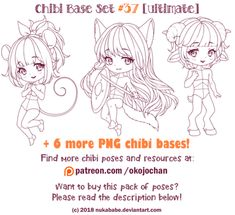 Chibi Pose Reference (Ultimate Chibi Base Set by Nukababe on DeviantArt Chibi, Drawing Reference, Character Design, Poses, Drawing Templates, Pose Reference, Art Tutorials, Chibi Drawings, Anime Chibi